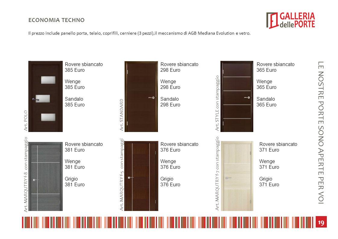 20 LE NOSTRE PORTE SONO APERTE PER VOI CLASSIC ECONOMIA Il prezzo include panello porta, telaio, coprifili, cerniere (3 pezzi),il meccanismo di AGB Mediana Evolution e vetro.
