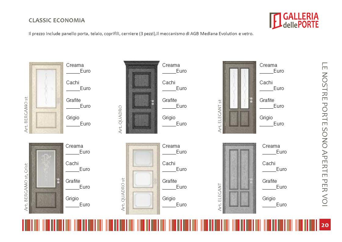 21 LE NOSTRE PORTE SONO APERTE PER VOI CLASSIC ECONOMIA Il prezzo include panello porta, telaio, coprifili, cerniere (3 pezzi),il meccanismo di AGB Mediana Evolution e vetro.