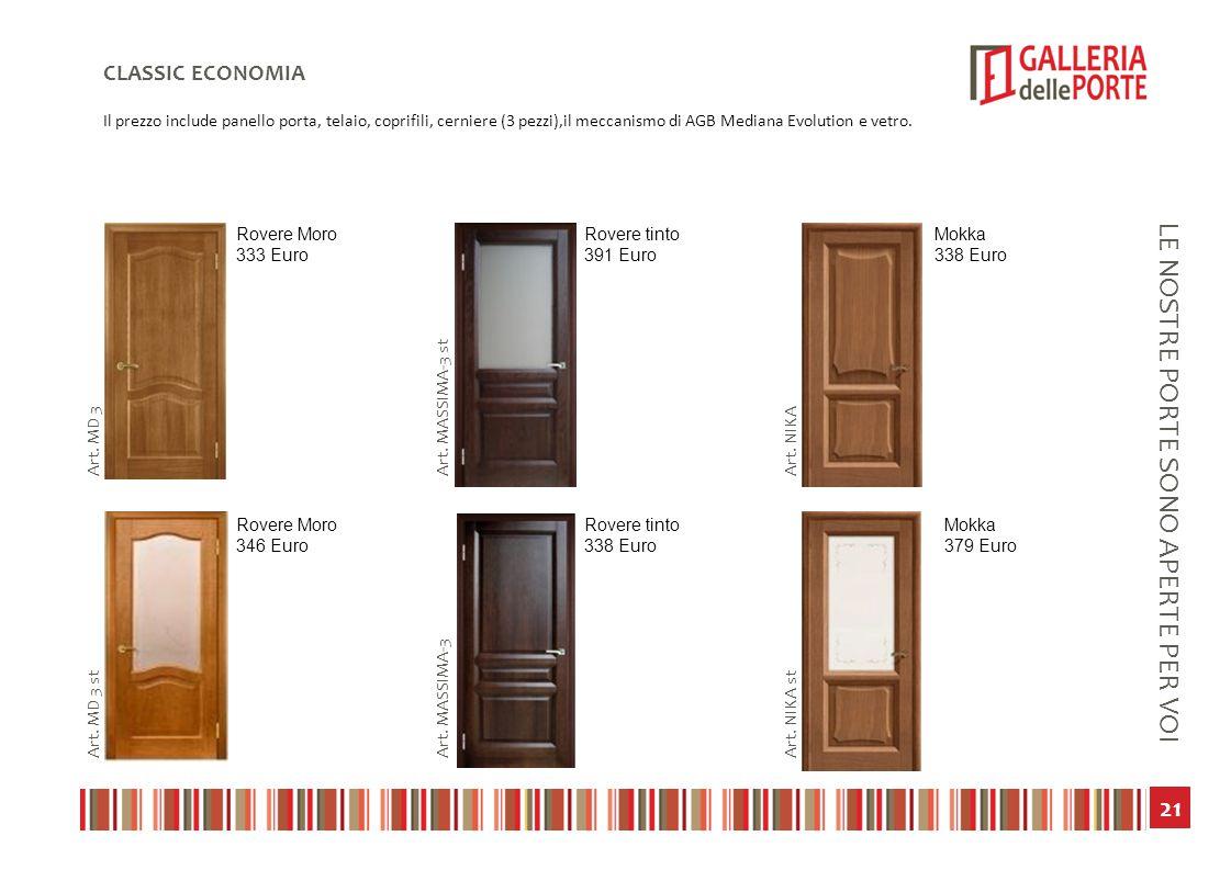 22 LE NOSTRE PORTE SONO APERTE PER VOI CLASSIC ECONOMIA Il prezzo include panello porta, telaio, coprifili, cerniere (3 pezzi),il meccanismo di AGB Mediana Evolution e vetro.