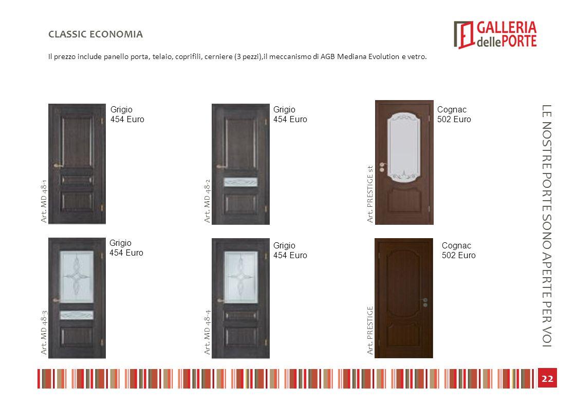 23 LE NOSTRE PORTE SONO APERTE PER VOI CLASSIC ECONOMIA Il prezzo include panello porta, telaio, coprifili, cerniere (3 pezzi),il meccanismo di AGB Mediana Evolution e vetro.