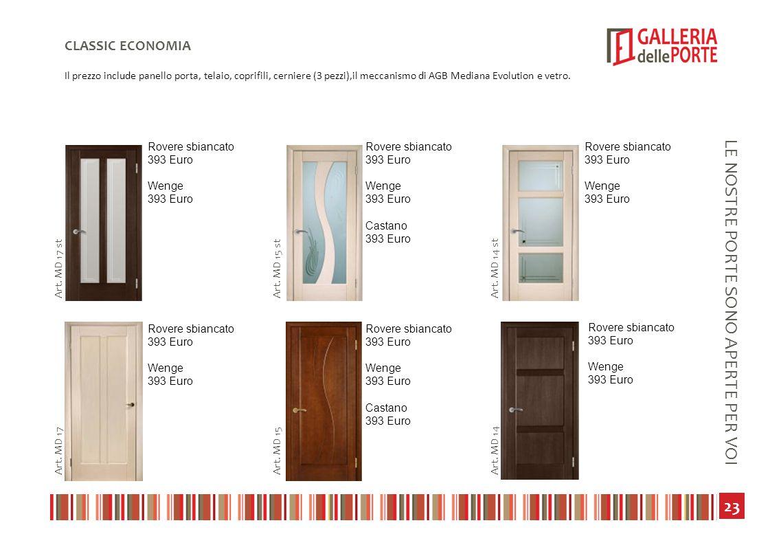 24 LE NOSTRE PORTE SONO APERTE PER VOI CLASSIC ECONOMIA Il prezzo include panello porta, telaio, coprifili, cerniere (3 pezzi),il meccanismo di AGB Mediana Evolution e vetro.