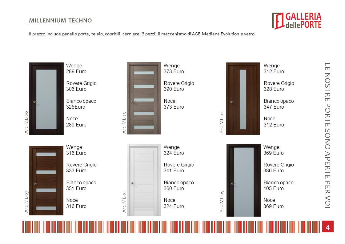 5 LE NOSTRE PORTE SONO APERTE PER VOI MILLENNIUM TECHNO Il prezzo include panello porta, telaio, coprifili, cerniere (3 pezzi),il meccanismo di AGB Mediana Evolution e vetro.