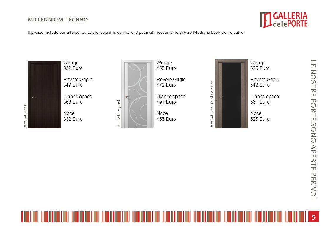 6 LE NOSTRE PORTE SONO APERTE PER VOI MILLENNIUM CLASSICS Il prezzo include panello porta, telaio, coprifili, cerniere (3 pezzi),il meccanismo di AGB Mediana Evolution e vetro.