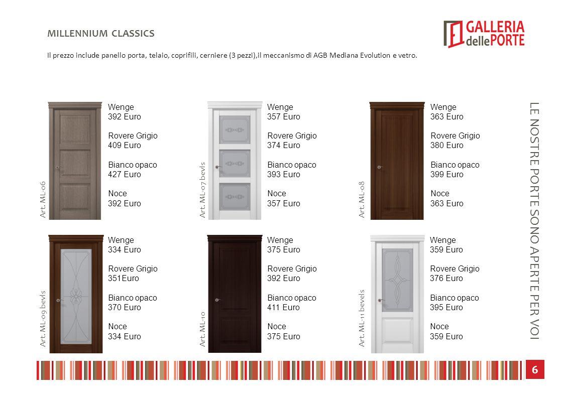 7 LE NOSTRE PORTE SONO APERTE PER VOI MILLENNIUM CLASSICS Il prezzo include panello porta, telaio, coprifili, cerniere (3 pezzi),il meccanismo di AGB Mediana Evolution e vetro.