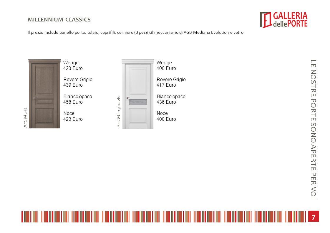 8 LE NOSTRE PORTE SONO APERTE PER VOI COSMOPOLITA TECHNO Il prezzo include panello porta, telaio, coprifili, cerniere (3 pezzi),il meccanismo di AGB Mediana Evolution e vetro.