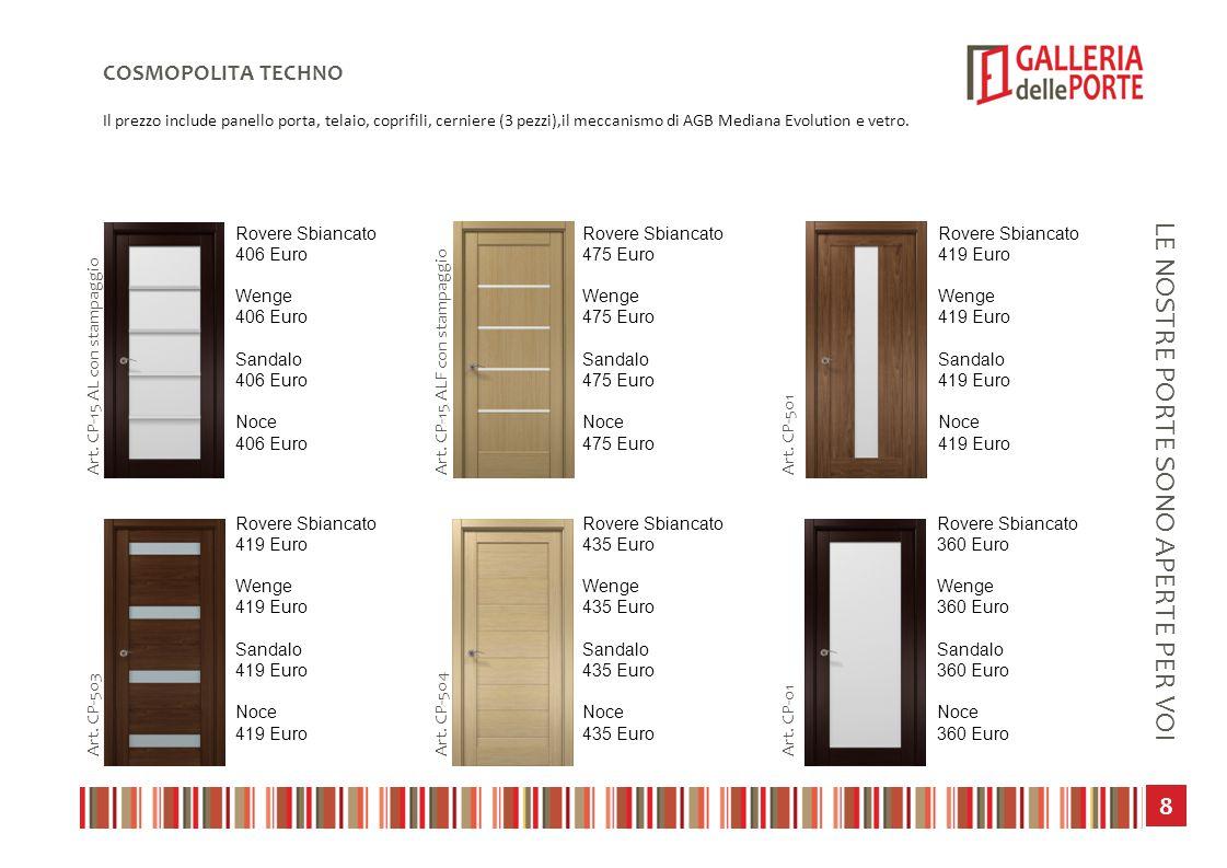 9 LE NOSTRE PORTE SONO APERTE PER VOI COSMOPOLITA TECHNO Il prezzo include panello porta, telaio, coprifili, cerniere (3 pezzi),il meccanismo di AGB Mediana Evolution e vetro.