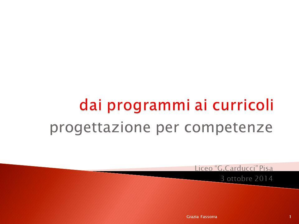 """progettazione per competenze Liceo """"G.Carducci"""" Pisa 3 ottobre 2014 Grazia Fassorra1"""