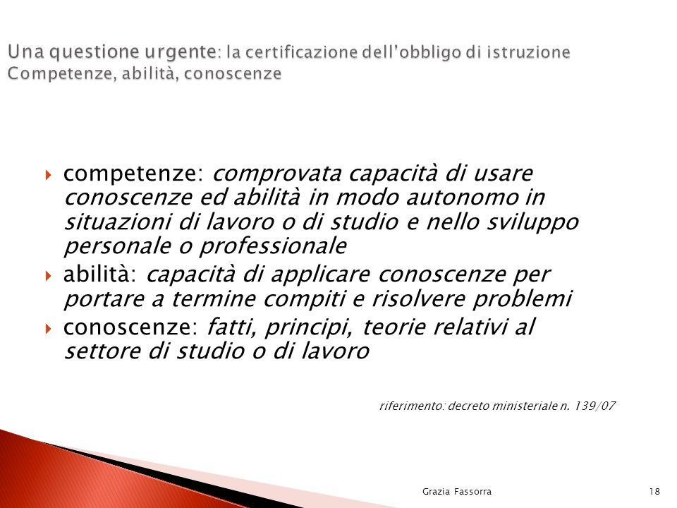 Grazia Fassorra18 Una questione urgente : la certificazione dell'obbligo di istruzione Competenze, abilità, conoscenze  competenze: comprovata capaci