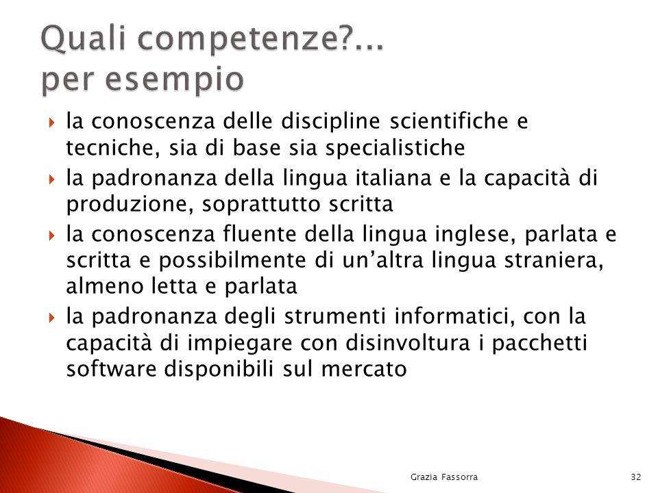  la conoscenza delle discipline scientifiche e tecniche, sia di base sia specialistiche  la padronanza della lingua italiana e la capacità di produz