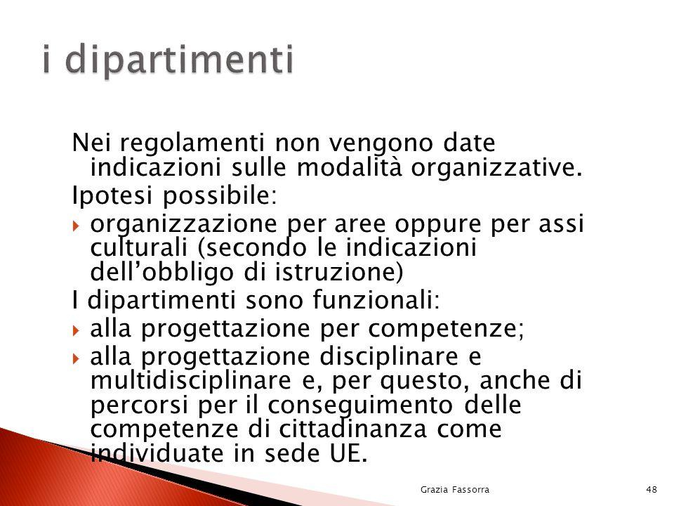 Nei regolamenti non vengono date indicazioni sulle modalità organizzative. Ipotesi possibile:  organizzazione per aree oppure per assi culturali (sec