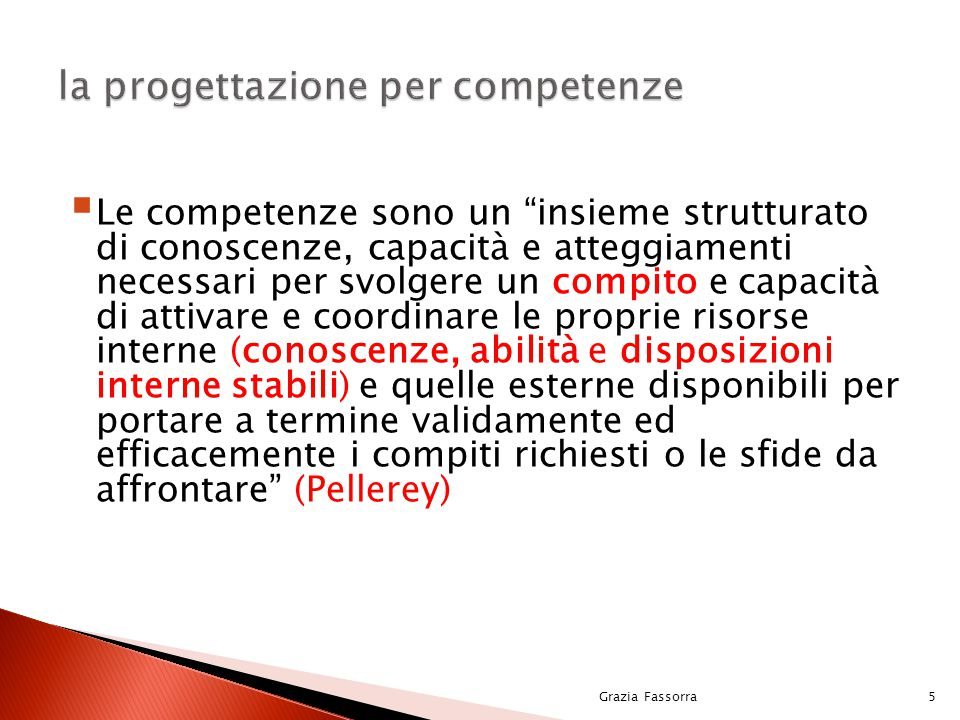 Grazia Fassorra36 la progettazione per competenze Didattica tradizionaleorganizzazione lineare, sequenziale lettura, memorizzazione, padronanza delle discipline organizzazione per UU.