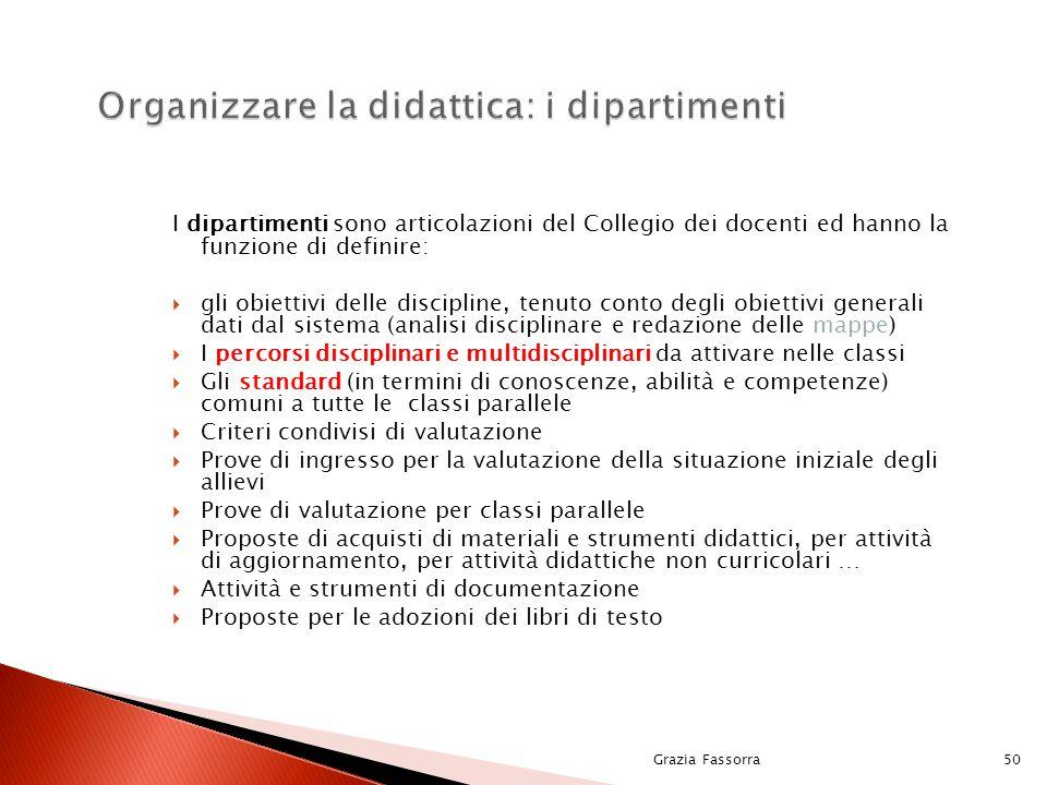 I dipartimenti sono articolazioni del Collegio dei docenti ed hanno la funzione di definire:  gli obiettivi delle discipline, tenuto conto degli obie