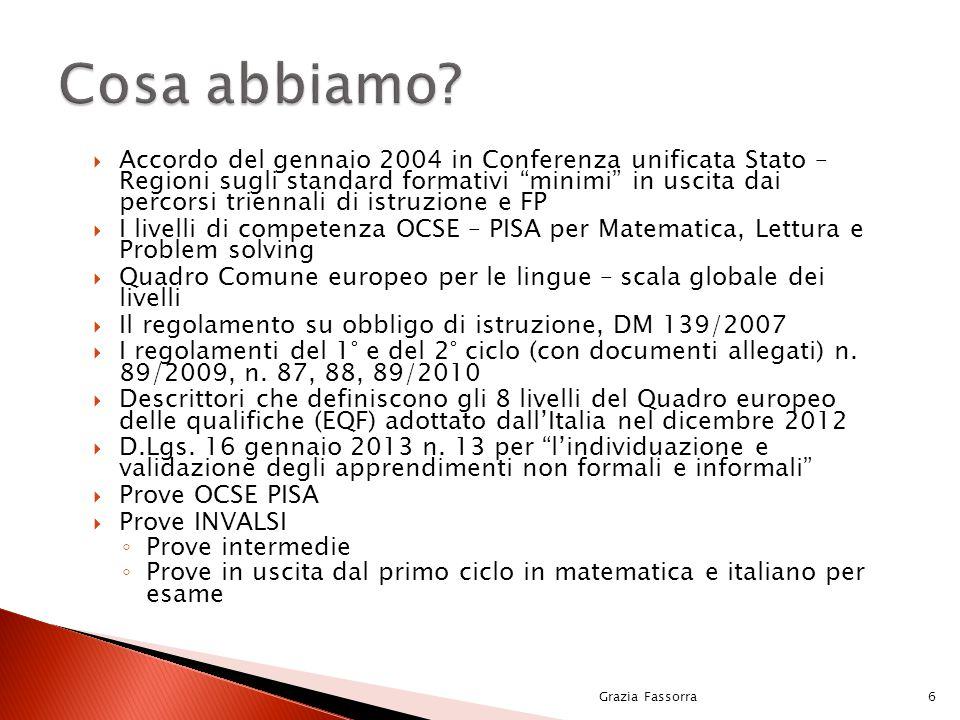 """ Accordo del gennaio 2004 in Conferenza unificata Stato – Regioni sugli standard formativi """"minimi"""" in uscita dai percorsi triennali di istruzione e"""
