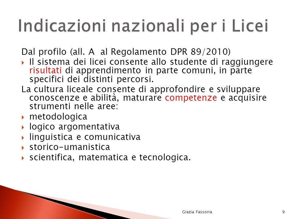 Dal profilo (all. A al Regolamento DPR 89/2010)  Il sistema dei licei consente allo studente di raggiungere risultati di apprendimento in parte comun
