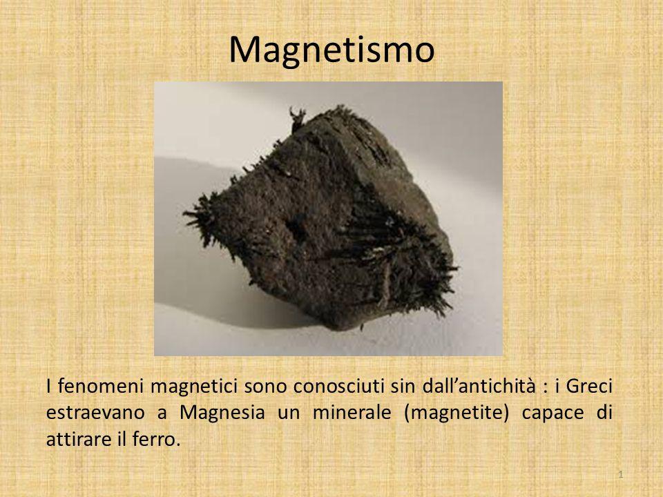 Magnetismo I fenomeni magnetici sono conosciuti sin dall'antichità : i Greci estraevano a Magnesia un minerale (magnetite) capace di attirare il ferro