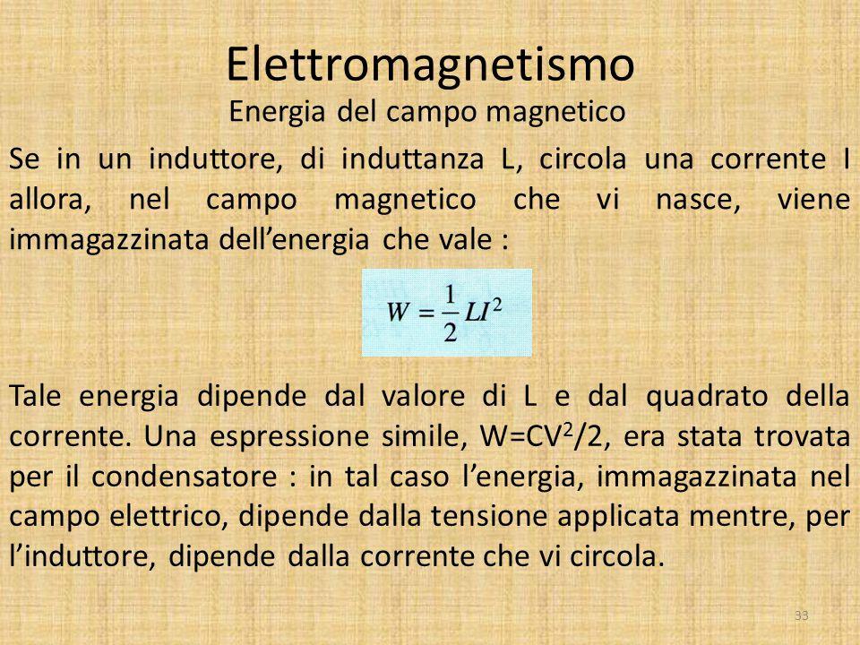 Elettromagnetismo Energia del campo magnetico 33 Se in un induttore, di induttanza L, circola una corrente I allora, nel campo magnetico che vi nasce,
