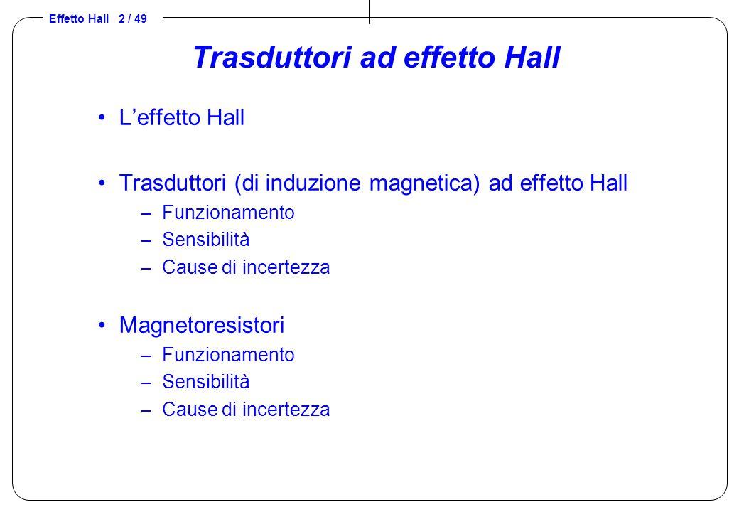 Effetto Hall 2 / 49 Trasduttori ad effetto Hall L'effetto Hall Trasduttori (di induzione magnetica) ad effetto Hall –Funzionamento –Sensibilità –Cause