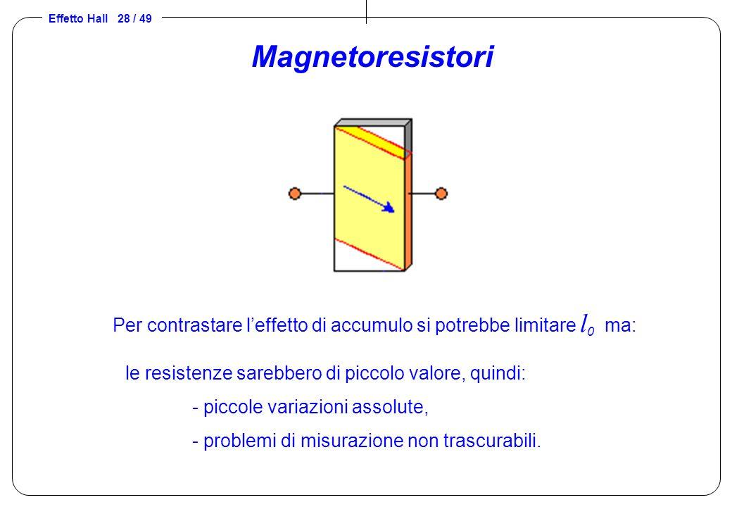 Effetto Hall 28 / 49 Magnetoresistori le resistenze sarebbero di piccolo valore, quindi: - piccole variazioni assolute, - problemi di misurazione non