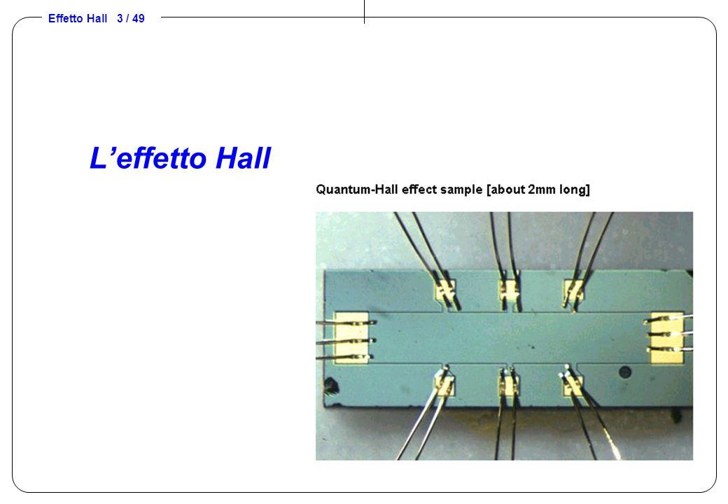Effetto Hall 14 / 49 Sensibilità e cause di incertezza Sensibilità: elevata sensibilità  bassa densità pdc –materiale semiconduttore monocristallino e poco drogato Cause di incertezza: –la temperatura modifica la densità pdc –spessore del semiconduttore –allineamento elettrodi