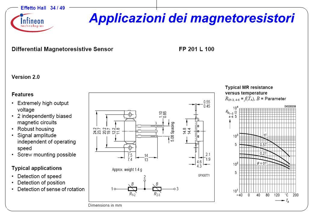 Effetto Hall 34 / 49 Applicazioni dei magnetoresistori