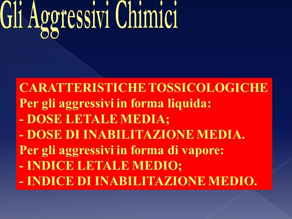 CARATTERISTICHE TOSSICOLOGICHE Per gli aggressivi in forma liquida: - DOSE LETALE MEDIA; - DOSE DI INABILITAZIONE MEDIA. Per gli aggressivi in forma d