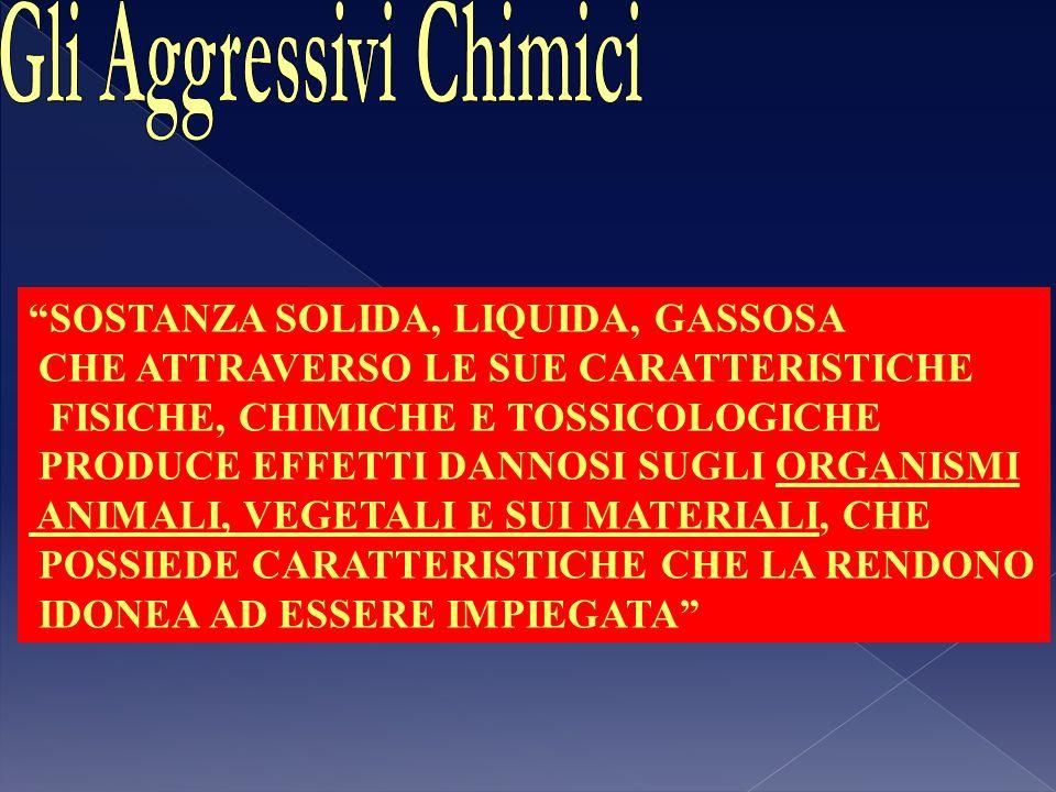 REQUISITI CHE DEVE POSSEDRE UN AGGRESSIVO CHIMICO - TOSSICITA' ELEVATA; - DIFFICILMENTE PERCEPIBILE, IDENTIFICABILE; - CAPACITA' DI PENETRAZIONE NEI MATERIALI; - AGIRE SULL'ORGANISMO UMANO PER INALAZIONE, INGESTIONE,ASSORBIMENTO CUTANEO; - IDONEITA' ALLA DISSEMINAZIONE; - STABILITA' CHIMICA; - IMPIEGO SENZA PARTICOLARI MISURE DI PRECAUZIONE