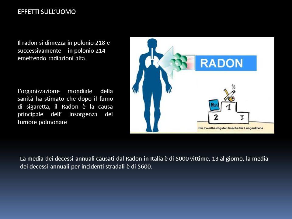 EFFETTI SULL'UOMO La media dei decessi annuali causati dal Radon in Italia è di 5000 vittime, 13 al giorno, la media dei decessi annuali per incidenti