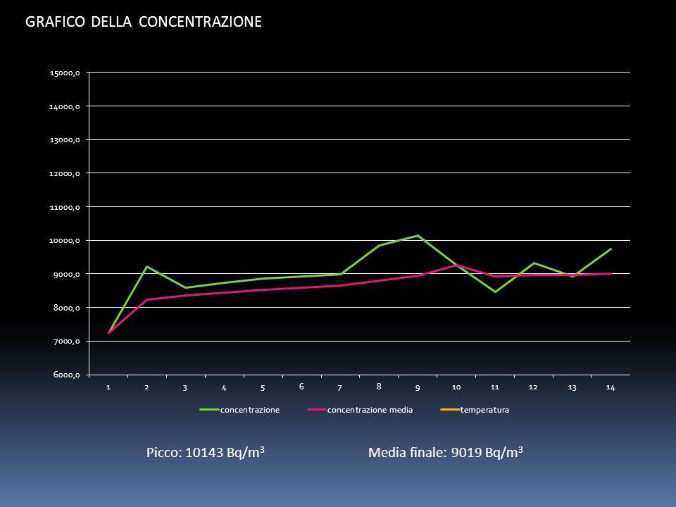 GRAFICO DELLA CONCENTRAZIONE Picco: 10143 Bq/m 3 Media finale: 9019 Bq/m 3