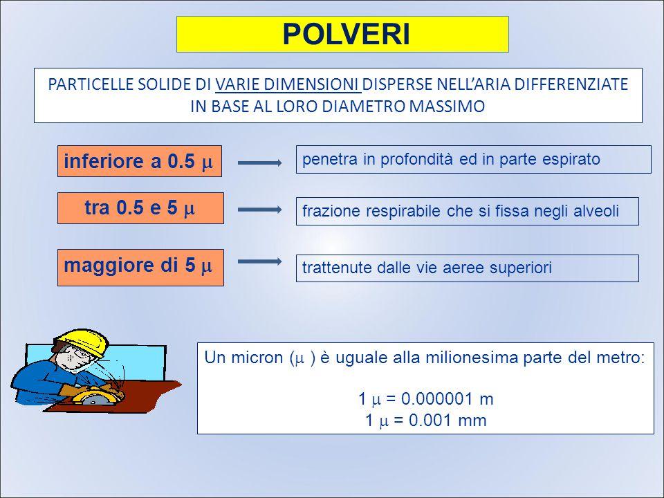 PARTICELLE SOLIDE DI VARIE DIMENSIONI DISPERSE NELL'ARIA DIFFERENZIATE IN BASE AL LORO DIAMETRO MASSIMO maggiore di 5  penetra in profondità ed in parte espirato frazione respirabile che si fissa negli alveoli trattenute dalle vie aeree superiori Un micron (  ) è uguale alla milionesima parte del metro: 1  = 0.000001 m 1  = 0.001 mm POLVERI inferiore a 0.5  tra 0.5 e 5 