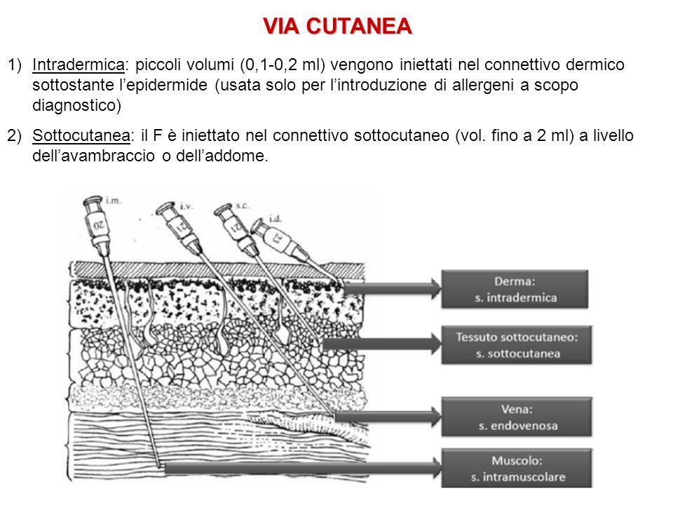 VIA CUTANEA 1)Intradermica: piccoli volumi (0,1-0,2 ml) vengono iniettati nel connettivo dermico sottostante l'epidermide (usata solo per l'introduzio