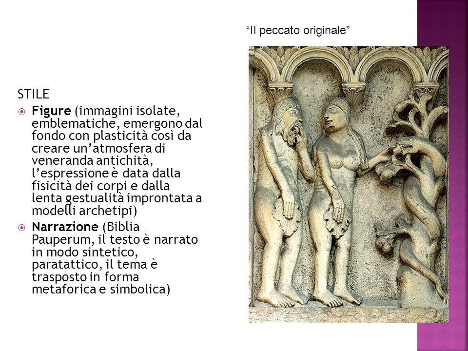 STILE  Figure (immagini isolate, emblematiche, emergono dal fondo con plasticità così da creare un'atmosfera di veneranda antichità, l'espressione è