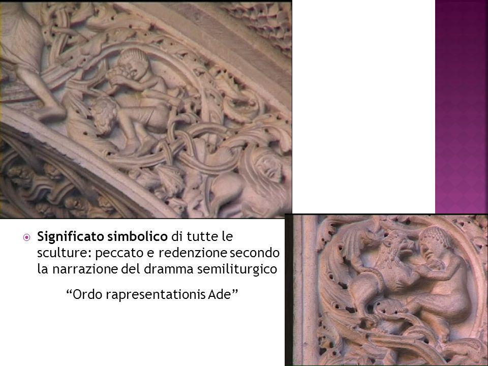 """ Significato simbolico di tutte le sculture: peccato e redenzione secondo la narrazione del dramma semiliturgico """"Ordo rapresentationis Ade"""""""