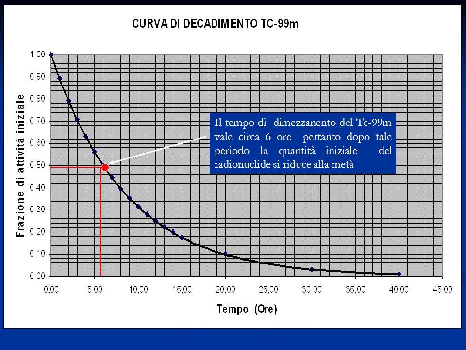 Decadimento tecnezio Il tempo di dimezzanento del Tc-99m vale circa 6 ore pertanto dopo tale periodo la quantità iniziale del radionuclide si riduce alla metà