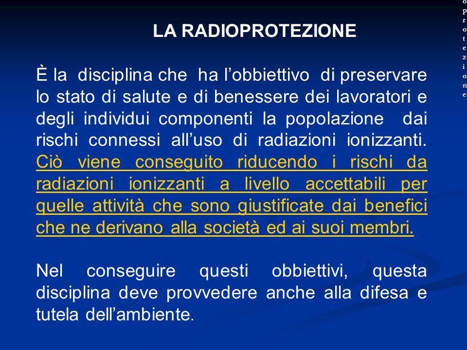 LA RADIOPROTEZIONE È la disciplina che ha l'obbiettivo di preservare lo stato di salute e di benessere dei lavoratori e degli individui componenti la popolazione dai rischi connessi all'uso di radiazioni ionizzanti.