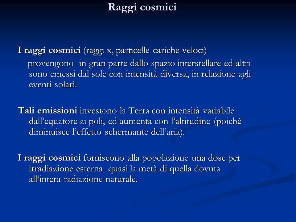 Raggi cosmici I raggi cosmici (raggi x, particelle cariche veloci) provengono in gran parte dallo spazio interstellare ed altri sono emessi dal sole con intensità diversa, in relazione agli eventi solari.