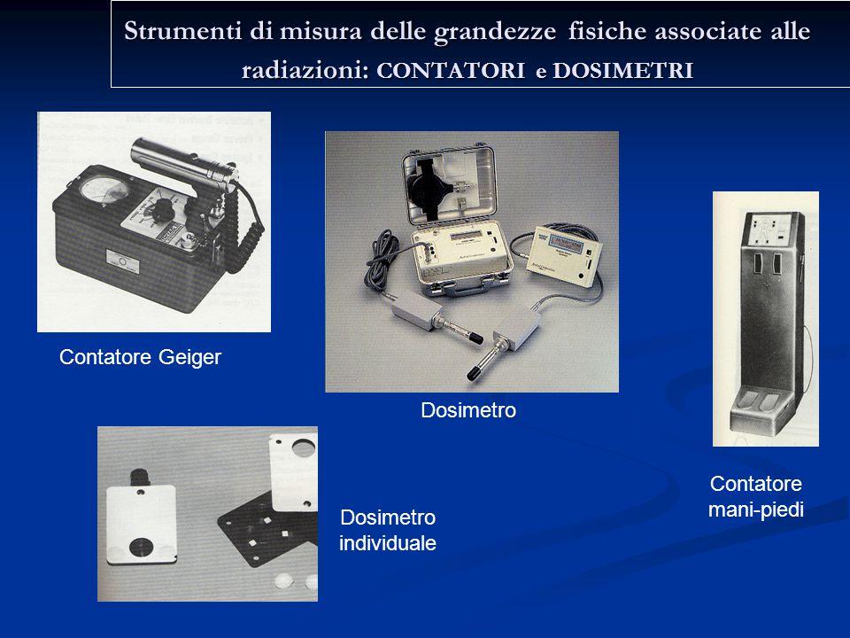 Strumenti di misura delle grandezze fisiche associate alle radiazioni: CONTATORI e DOSIMETRI Contatore Geiger Dosimetro Dosimetro individuale Contatore mani-piedi