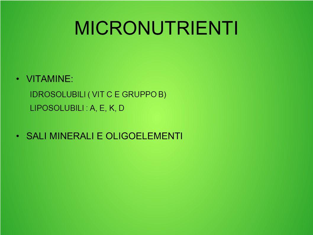 MICRONUTRIENTI VITAMINE: IDROSOLUBILI ( VIT C E GRUPPO B) LIPOSOLUBILI : A, E, K, D SALI MINERALI E OLIGOELEMENTI