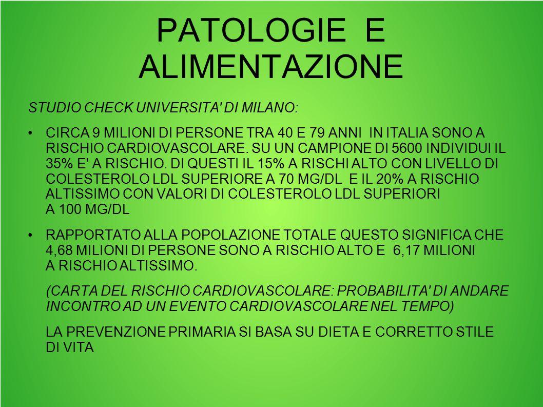 STUDIO CHECK UNIVERSITA' DI MILANO: CIRCA 9 MILIONI DI PERSONE TRA 40 E 79 ANNI IN ITALIA SONO A RISCHIO CARDIOVASCOLARE. SU UN CAMPIONE DI 5600 INDIV