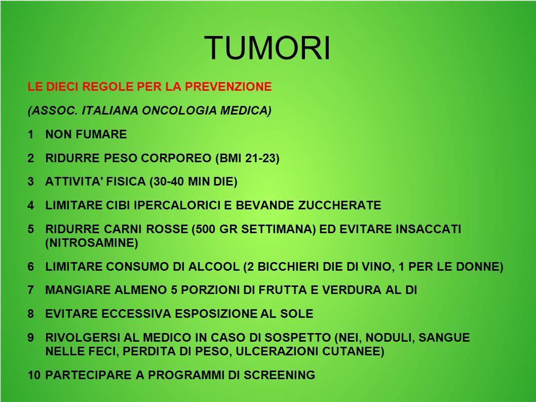 TUMORI LE DIECI REGOLE PER LA PREVENZIONE (ASSOC. ITALIANA ONCOLOGIA MEDICA) 1NON FUMARE 2RIDURRE PESO CORPOREO (BMI 21-23) 3ATTIVITA' FISICA (30-40 M