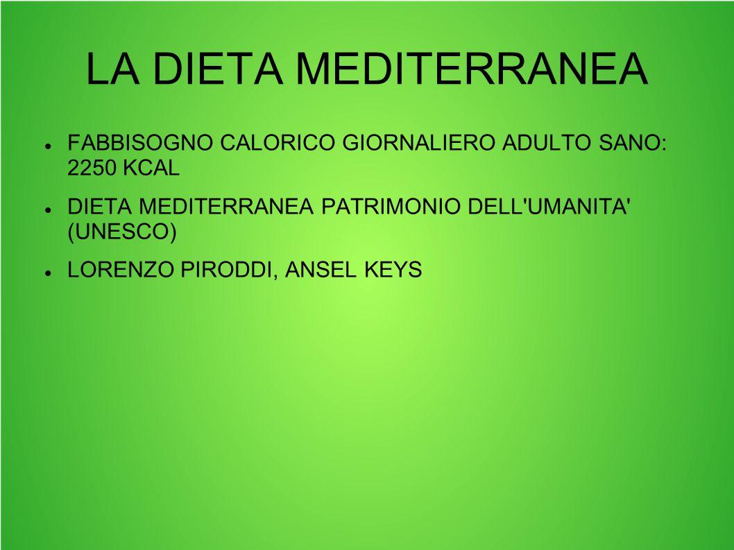 LA DIETA MEDITERRANEA FABBISOGNO CALORICO GIORNALIERO ADULTO SANO: 2250 KCAL DIETA MEDITERRANEA PATRIMONIO DELL'UMANITA' (UNESCO) LORENZO PIRODDI, ANS