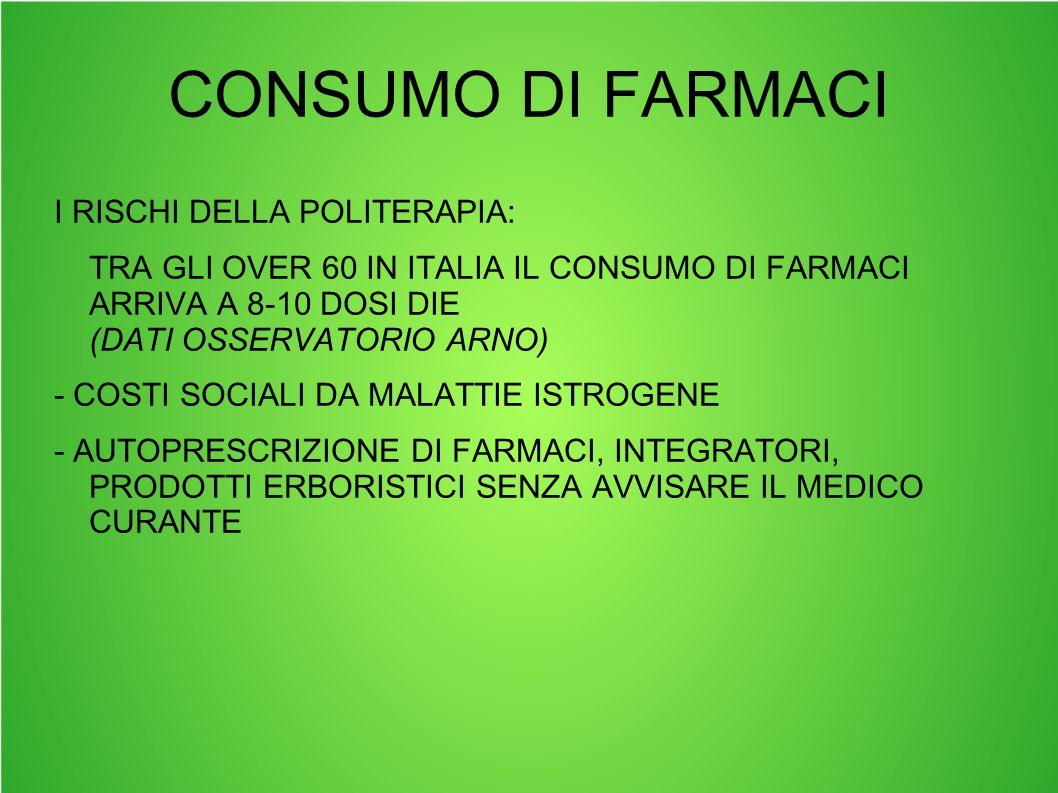 CONSUMO DI FARMACI I RISCHI DELLA POLITERAPIA: TRA GLI OVER 60 IN ITALIA IL CONSUMO DI FARMACI ARRIVA A 8-10 DOSI DIE (DATI OSSERVATORIO ARNO) - COSTI