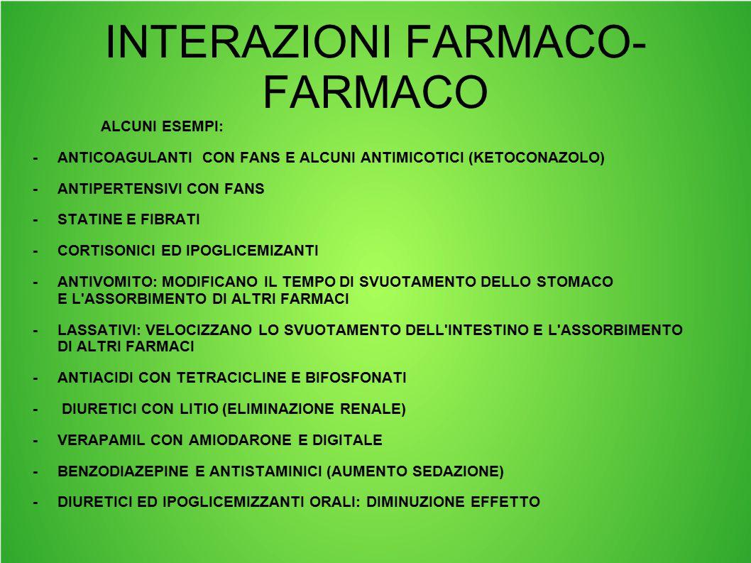 INTERAZIONI FARMACO- FARMACO ALCUNI ESEMPI: -ANTICOAGULANTI CON FANS E ALCUNI ANTIMICOTICI (KETOCONAZOLO) -ANTIPERTENSIVI CON FANS -STATINE E FIBRATI