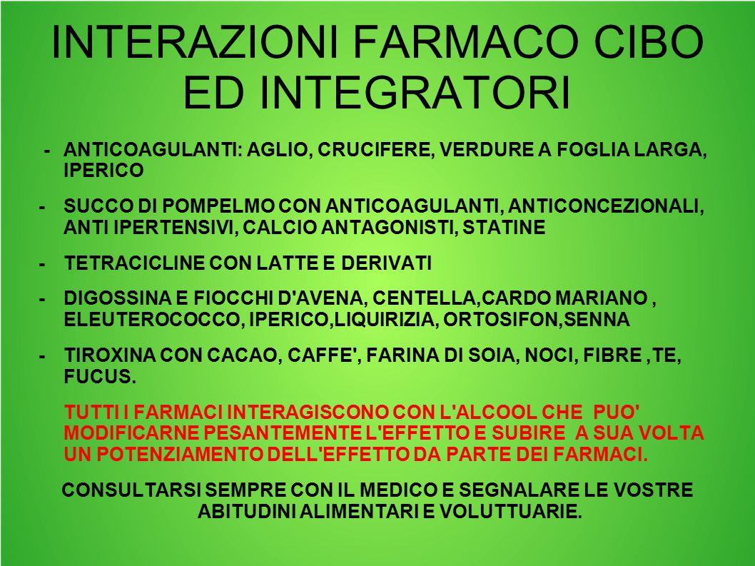 INTERAZIONI FARMACO CIBO ED INTEGRATORI -ANTICOAGULANTI: AGLIO, CRUCIFERE, VERDURE A FOGLIA LARGA, IPERICO -SUCCO DI POMPELMO CON ANTICOAGULANTI, ANTI