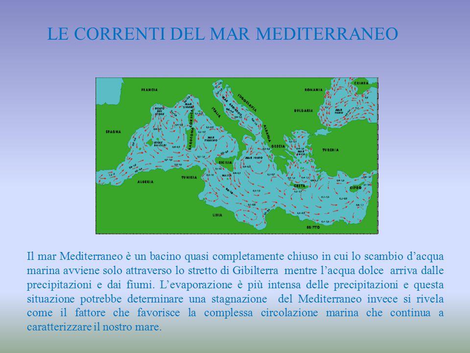 LE CORRENTI DEL MAR MEDITERRANEO Il mar Mediterraneo è un bacino quasi completamente chiuso in cui lo scambio d'acqua marina avviene solo attraverso l