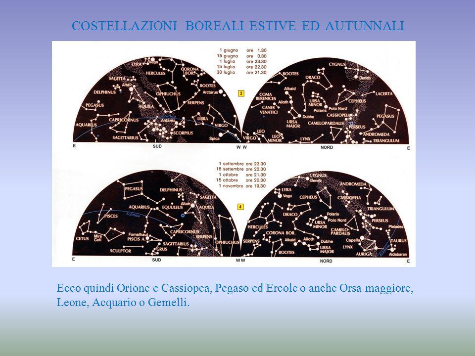 COSTELLAZIONI BOREALI ESTIVE ED AUTUNNALI Ecco quindi Orione e Cassiopea, Pegaso ed Ercole o anche Orsa maggiore, Leone, Acquario o Gemelli.