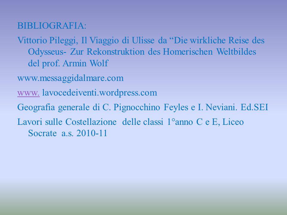 """BIBLIOGRAFIA: Vittorio Pileggi, Il Viaggio di Ulisse da """"Die wirkliche Reise des Odysseus- Zur Rekonstruktion des Homerischen Weltbildes del prof. Arm"""