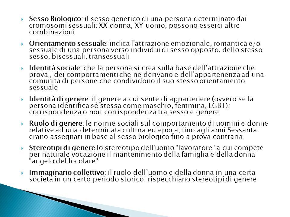  Sesso Biologico: il sesso genetico di una persona determinato dai cromosomi sessuali: XX donna, XY uomo, possono esserci altre combinazioni  Orientamento sessuale: indica l attrazione emozionale, romantica e/o sessuale di una persona verso individui di sesso opposto, dello stesso sesso, bisessuali, transessuali  Identità sociale: che la persona si crea sulla base dell'attrazione che prova, dei comportamenti che ne derivano e dell appartenenza ad una comunità di persone che condividono il suo stesso orientamento sessuale  Identità di genere: il genere a cui sente di appartenere (ovvero se la persona identifica sé stessa come maschio, femmina, LGBT); corrispondenza o non corrispondenza tra sesso e genere  Ruolo di genere: le norme sociali sul comportamento di uomini e donne relative ad una determinata cultura ed epoca; fino agli anni Sessanta erano assegnati in base al sesso biologico fino a prova contraria  Stereotipi di genere lo stereotipo dell uomo lavoratore a cui compete per naturale vocazione il mantenimento della famiglia e della donna angelo del focolare  Immaginario collettivo: il ruolo dell'uomo e della donna in una certa società in un certo periodo storico: rispecchiano stereotipi di genere