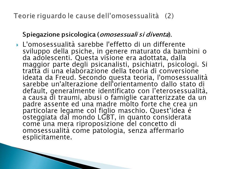 Spiegazione psicologica (omosessuali si diventa).  L'omosessualità sarebbe l'effetto di un differente sviluppo della psiche, in genere maturato da ba