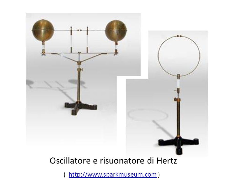 Oscillatore e risuonatore di Hertz ( http://www.sparkmuseum.com )http://www.sparkmuseum.com