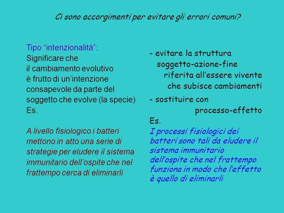 """Tipo """"intenzionalità"""": Significare che il cambiamento evolutivo è frutto di un'intenzione consapevole da parte del soggetto che evolve (la specie) Es."""